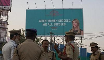 """An Ivanka Trump billboard in India that reads """"When Women Succeed, We All Succeed."""""""